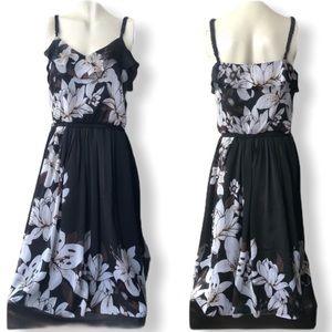 WHBM • Black Floral Sleeveless Ruffle Dress • Sz 6